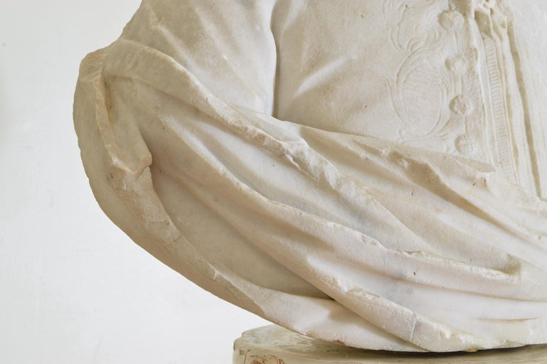 Italian Bust in Statuary Marble on Later Plaster Pedestal, 18th-19th Century For Sale 6