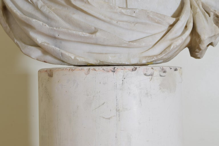 Italian Bust in Statuary Marble on Later Plaster Pedestal, 18th-19th Century For Sale 7