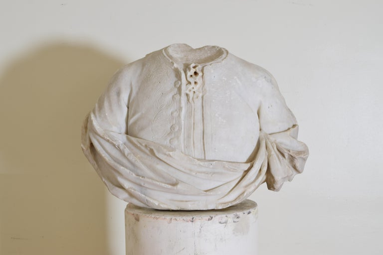 Italian Bust in Statuary Marble on Later Plaster Pedestal, 18th-19th Century In Good Condition For Sale In Atlanta, GA