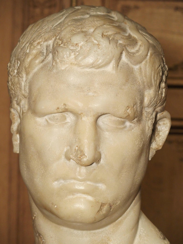 This is a bust of the great statesman, general, and Roman consul, Marcus Vipsanius Agrippa (64 BC-12 BC). It is based off the marble bust discovered in the villa of Prince Camille Borghese in 1792, now residing in the Le Louvre Museum, Paris. The