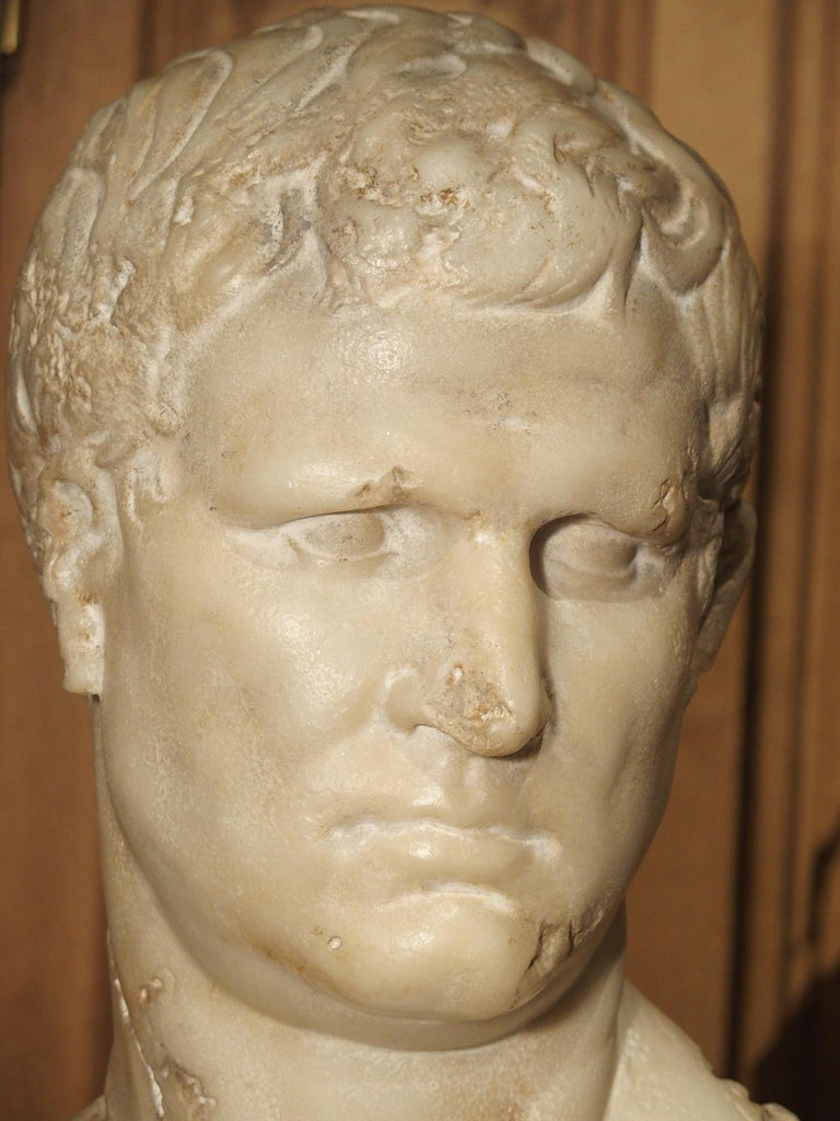 Italian Bust of Marcus Vipsanius Agrippa In Good Condition For Sale In Dallas, TX