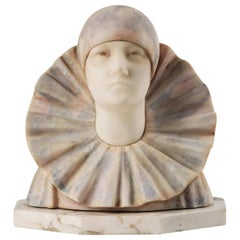 Italian Bust Pierrot Clown Alabaster Marble Statue by a. Gentili