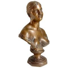 """Italian """"Busto di Donna"""" bronze Sculpture by Vincenzo Gemito, Napoli, 1930s"""
