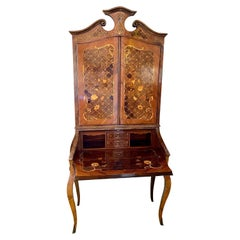 Italian c. 1910 Satinwood Secretaire with Marquetry Inlay