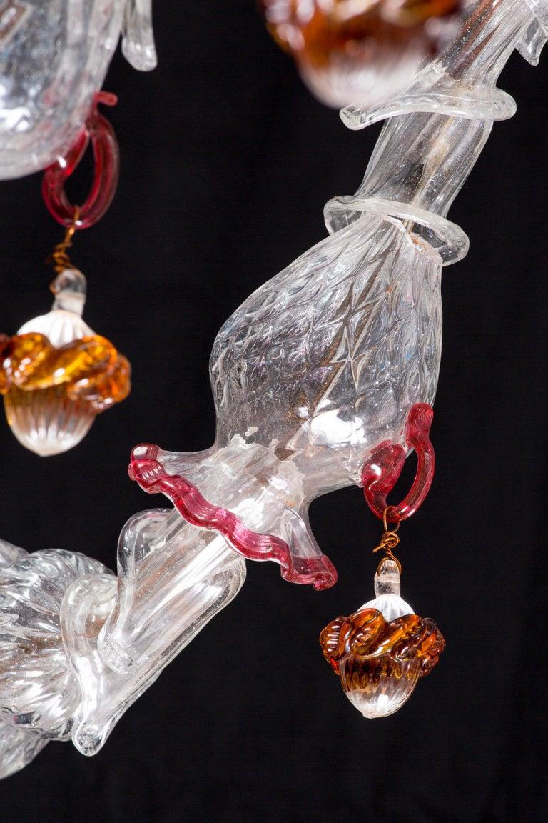 Italian Ca' Rezzonico Murano Glass Chandelier from Venetia by G. Ferro, 1950 For Sale 10