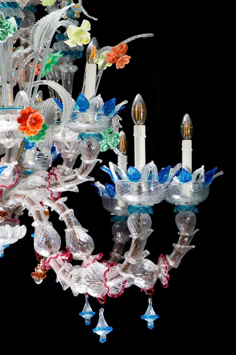 Mid-20th Century Italian Ca' Rezzonico Murano Glass Chandelier from Venetia by G. Ferro, 1950 For Sale