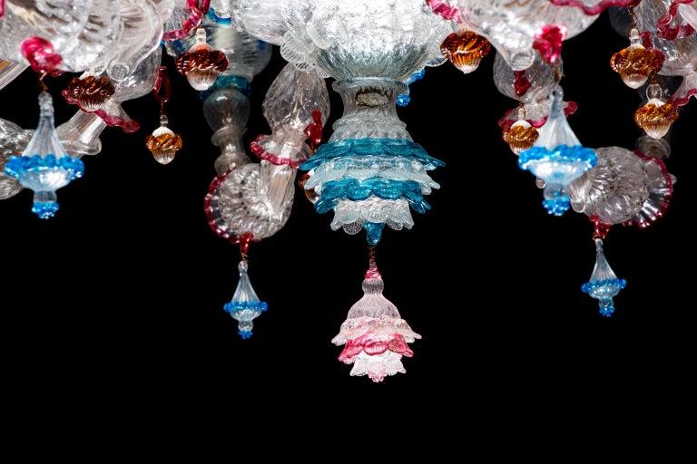 Italian Ca' Rezzonico Murano Glass Chandelier from Venetia by G. Ferro, 1950 For Sale 1