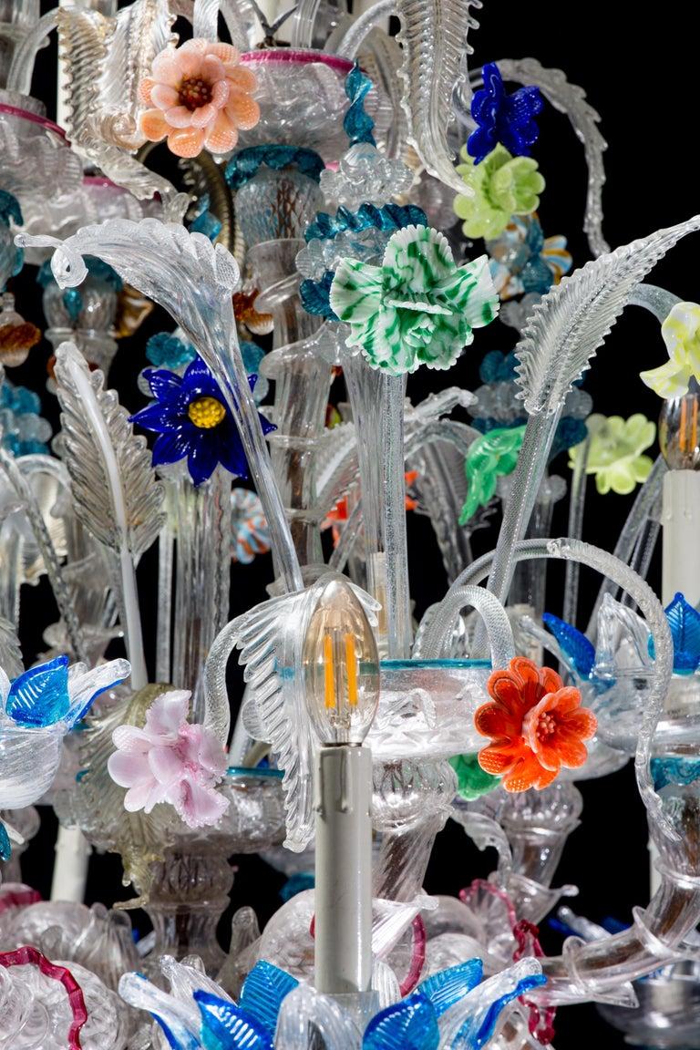 Italian Ca' Rezzonico Murano Glass Chandelier from Venetia by G. Ferro, 1950 For Sale 2