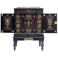 Italian Cabinet in Ebony, Scagliola and Tortoise Shell, 17th-19th Century
