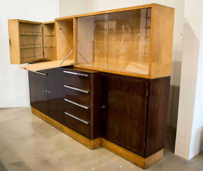 20th Century Italian Art Deco Cabinet of Birch and Rosewood, 1930-1940 For Sale