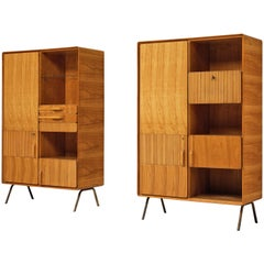 Italian Cabinets in Maple and Brass