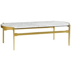 Italian  Calacata Marble Coffee Table in Satin Gold Brass