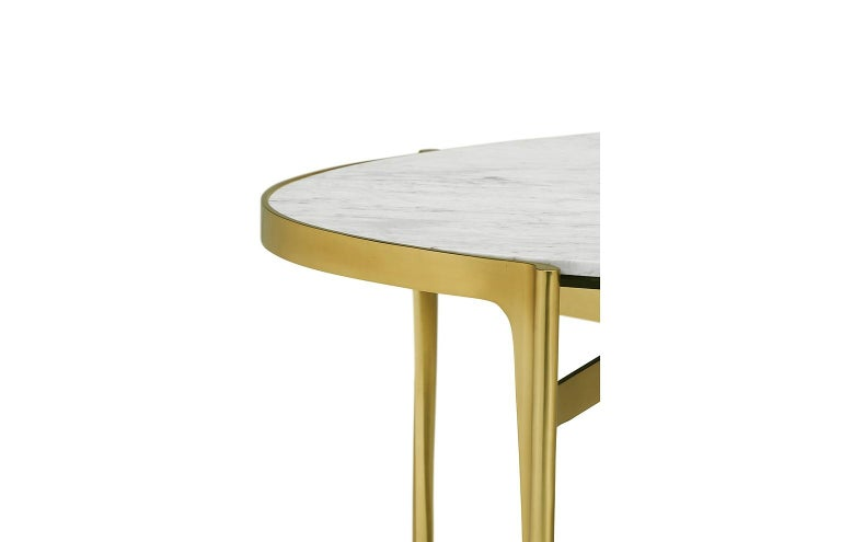 Italian Calcutta Marble Dining Table in Satin Gold Brass In New Condition For Sale In New York, NY