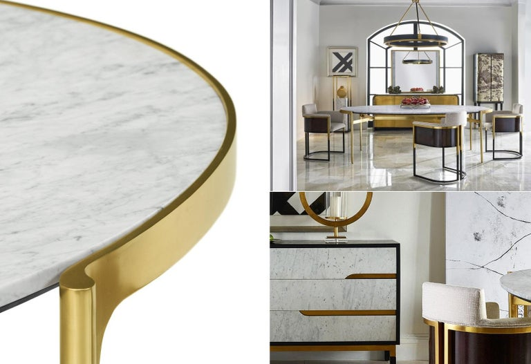 Contemporary Italian Calcutta Marble Dining Table in Satin Gold Brass For Sale