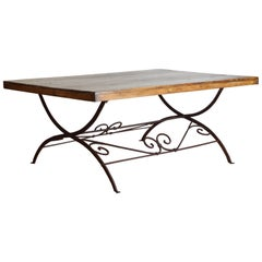 Italian Campaign Wrought Iron and Pinewood Dining Table, 19th Century and Later