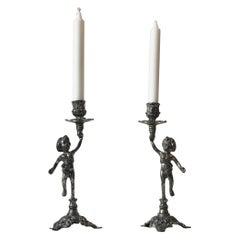 Italian Candlesticks with Cherubs, 1950s
