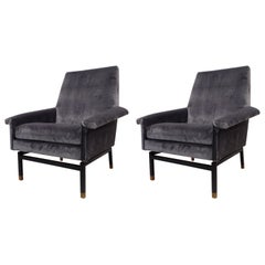 Italian Cantilevered Mid-Century Modern Lounge Chairs, Gianfranco Frattini, Pair