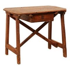 "Italian ""Capretta"" Table or Smaller-Size Desk with Drawer, 19th Century"