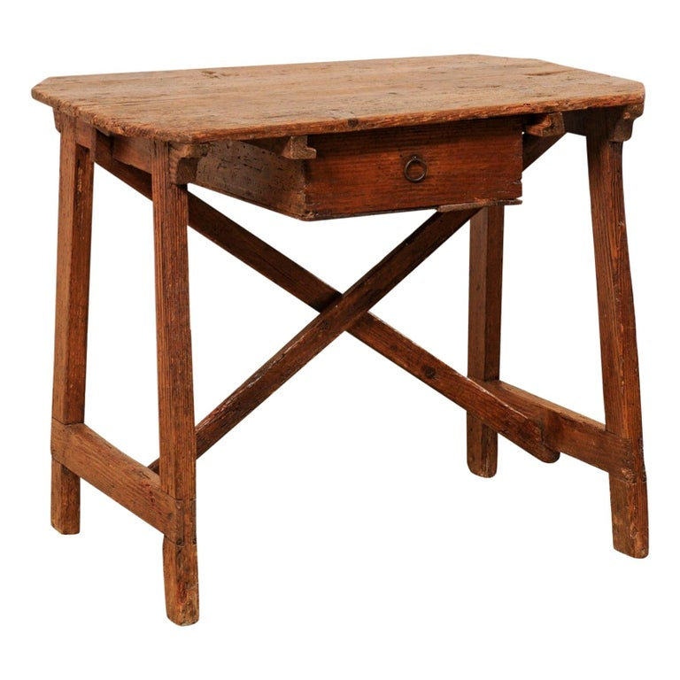 """Italian """"Capretta"""" Table or Smaller-Size Desk with Drawer, 19th Century For Sale"""