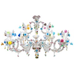 Italian Ca'Rezzonico Gondola Chandelier with Colorful Flowers and Leaves, 1960s