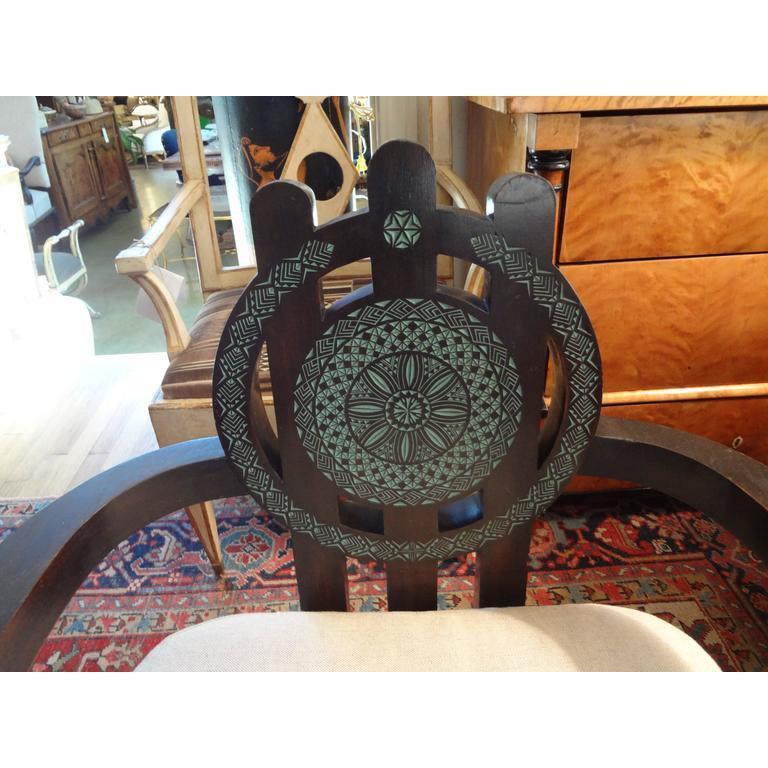 Aesthetic Movement Italian Carlo Bugatti Inspired Lounge Chair Designed by Ettore Zaccari For Sale