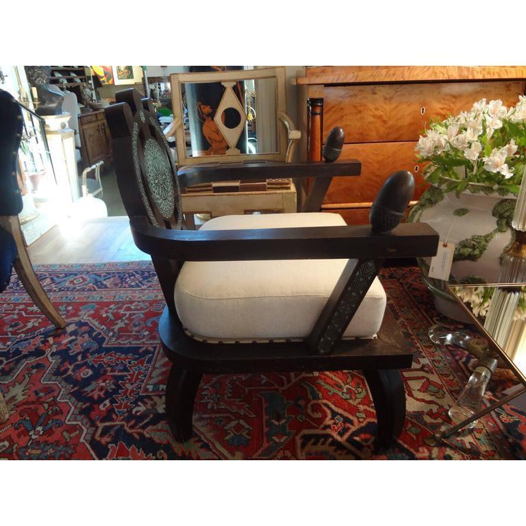 Mid-20th Century Italian Carlo Bugatti Inspired Lounge Chair Designed by Ettore Zaccari For Sale