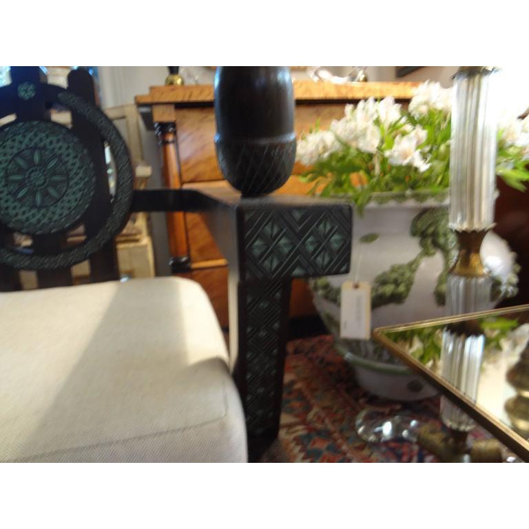 Wood Italian Carlo Bugatti Inspired Lounge Chair Designed by Ettore Zaccari For Sale