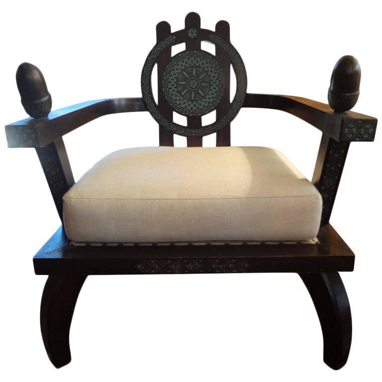 Italian Carlo Bugatti Inspired Lounge Chair Designed by Ettore Zaccari For Sale 2