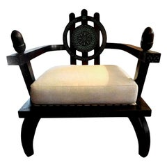 Italian Carlo Bugatti Inspired Lounge Chair Designed by Ettore Zaccari
