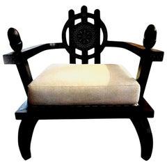 Italian Carlo Bugatti Inspired Lounge Chair Designed by Ettore Zaccari