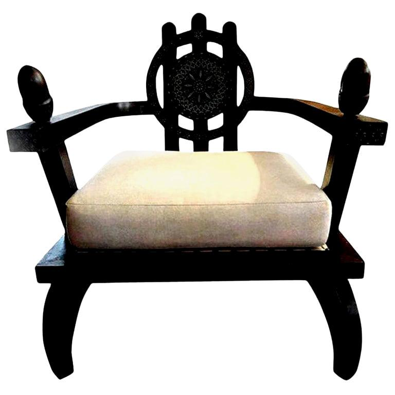 Italian Carlo Bugatti Inspired Lounge Chair Designed by Ettore Zaccari For Sale