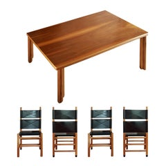 Italian Carlo Scarpa Dining Room Set Signed in Natural Walnut and Black Cowhide