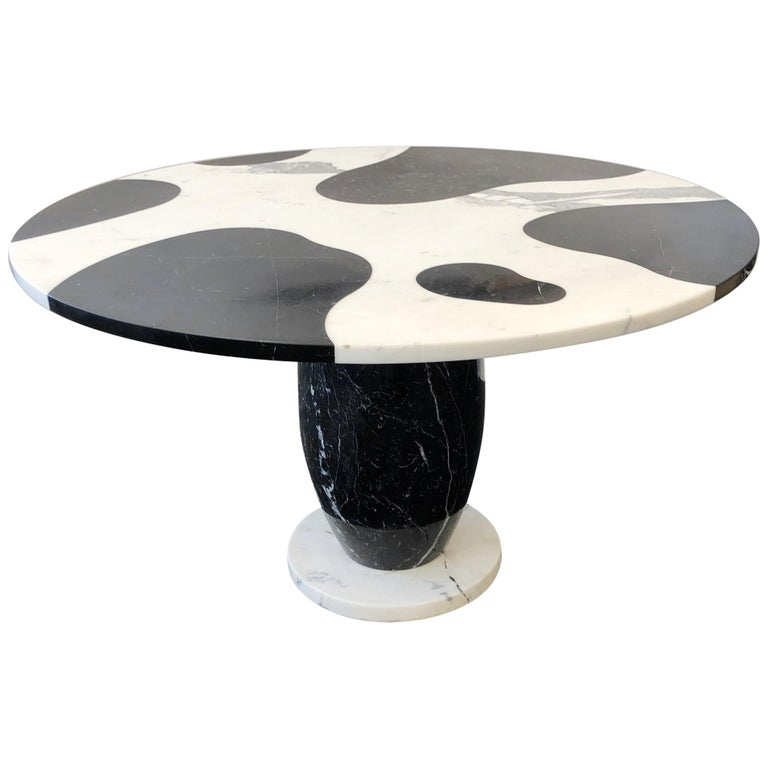 Italian Carrara and black marble dining table, 1980s, offered by a La MOD INC
