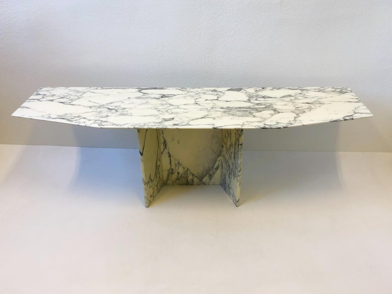 A spectacular 1970s Italian polish Carrara marble Console table. 