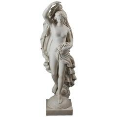 Italian Carrara Marble Figure of a Lady with Flowers by Demetrio Caruji
