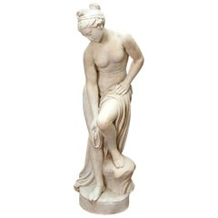 Italian Carrara Marble Life-Size Female Sculpture