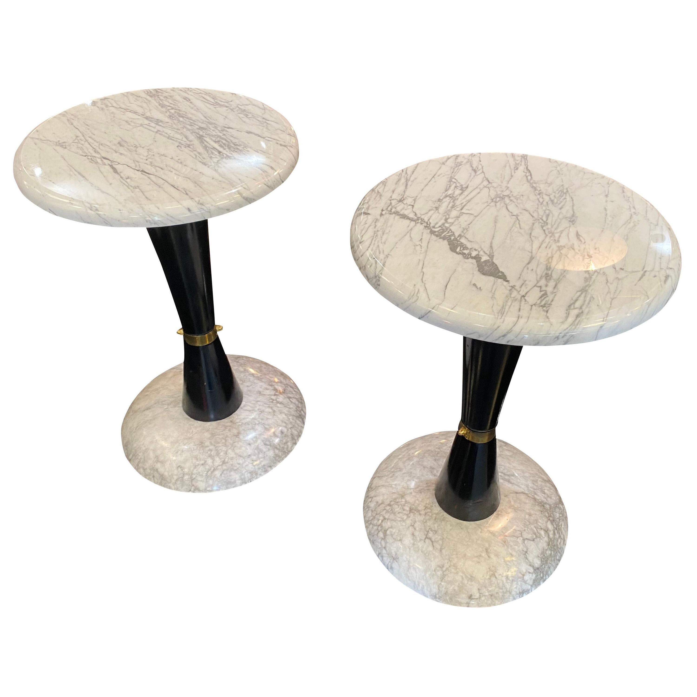 Italian Carrara Marble Side Tables