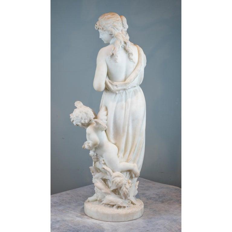 Carved Italian Carrara Marble Statue 'Amore E Psiche' by Romanelli For Sale
