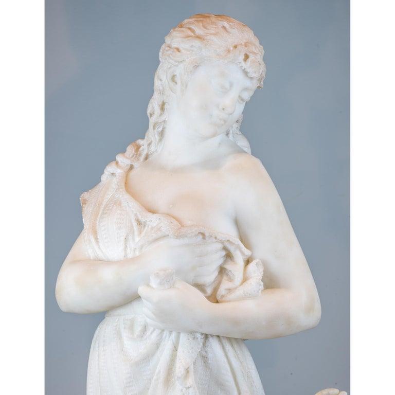 19th Century Italian Carrara Marble Statue 'Amore E Psiche' by Romanelli For Sale