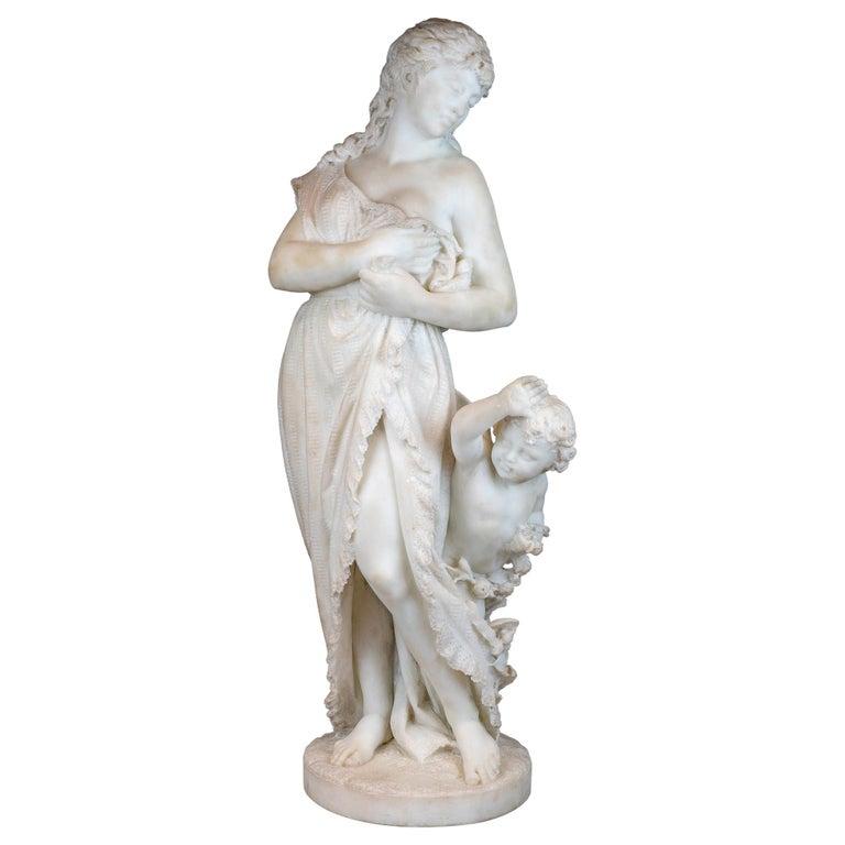 Italian Carrara Marble Statue 'Amore E Psiche' by Romanelli For Sale