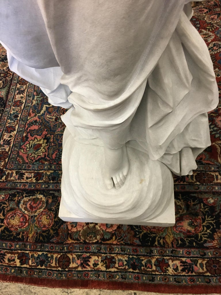 Italian Carrara Marble Winged Angel, circa 19th Century In Excellent Condition For Sale In West Hollywood, CA