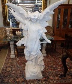 Italian Carrara Marble Winged Angel, circa 1850