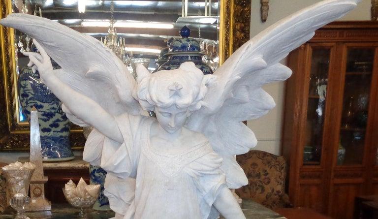 Italian Carrara Marble Winged Angel, circa 19th Century For Sale 3