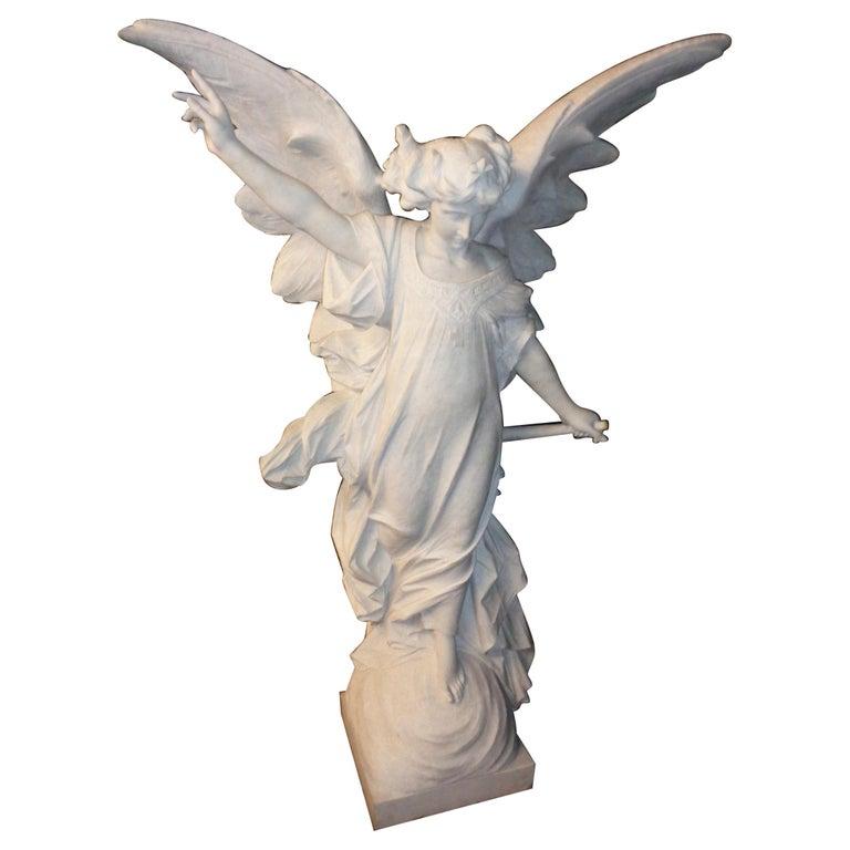 Italian Carrara Marble Winged Angel, circa 19th Century For Sale 4