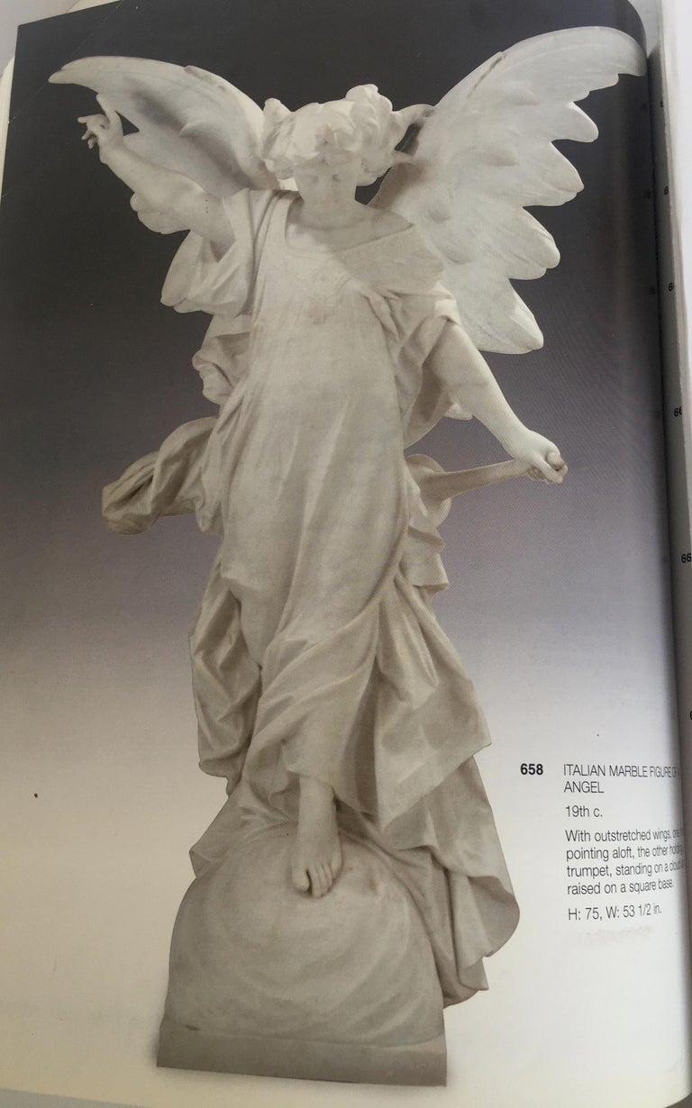 Italian Carrara Marble Winged Angel, circa 19th Century For Sale 6