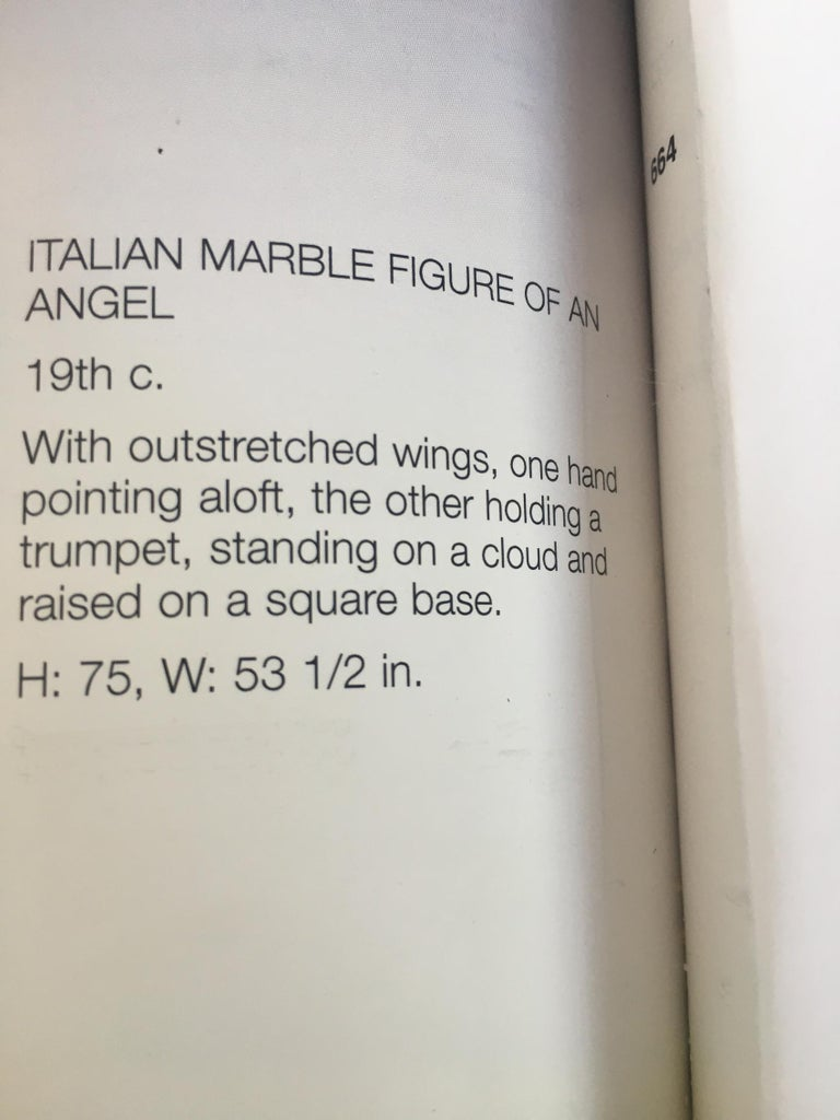 Italian Carrara Marble Winged Angel, circa 19th Century For Sale 7