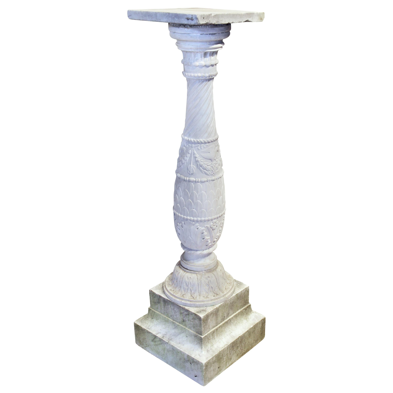 Italian Carrera Marble Pedestal