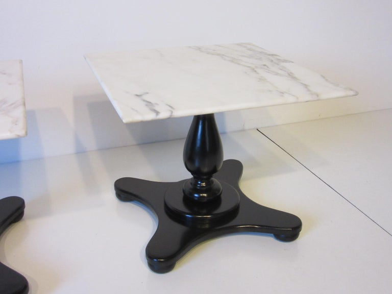 Mid-Century Modern Italian Carrera Marble Topped Pedestal Side Tables For Sale