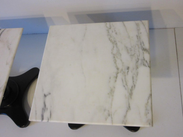 20th Century Italian Carrera Marble Topped Pedestal Side Tables For Sale