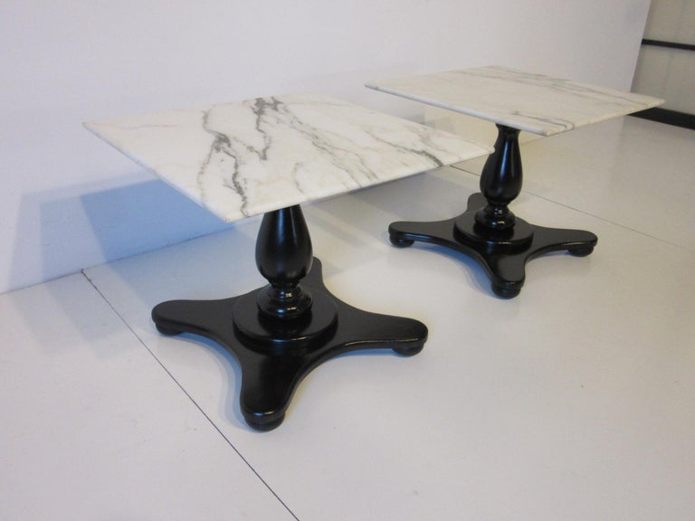 Italian Carrera Marble Topped Pedestal Side Tables For Sale 1